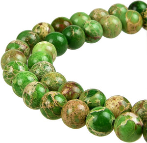 Natural Green Imperial Jasper Beads, Round Shape Beads,  8 mm Smooth Beads