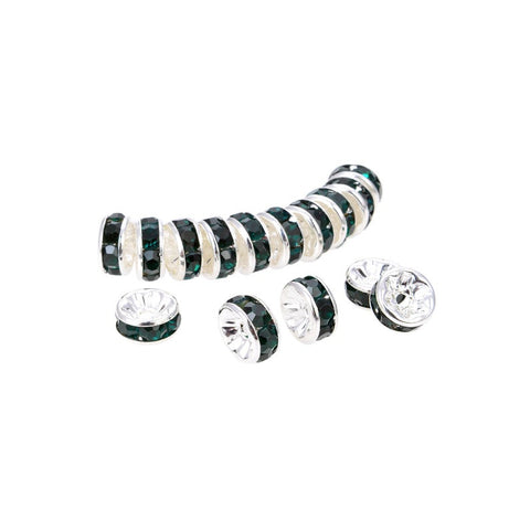 Silver Plated Emerald Crystal Spacer Beads, Roundelle Shape Spacer Beads