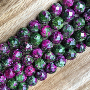 Ruby Zoisite Faceted Beads, Ruby Zoisite 10 mm Round Shape Beads