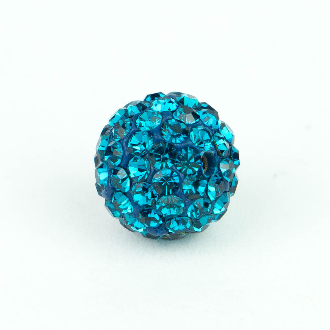 Crystal Pave Beads 12 mm Blue Zircon