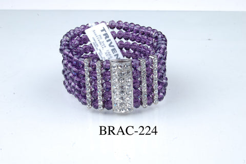BRAC-224: Crystal 5 Line Diamond Bar Bracelet