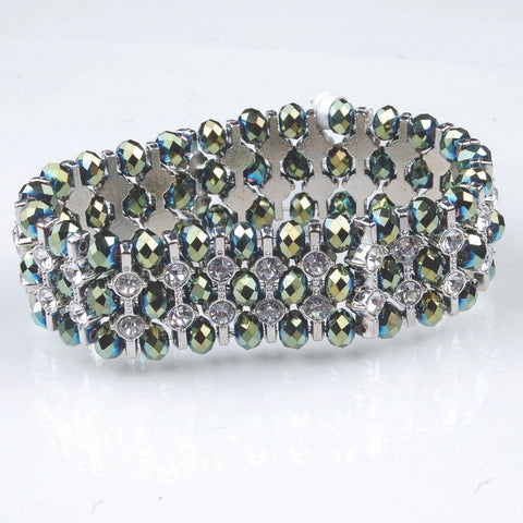 BRAC-241: 3 Row Spotted Crystal Bracelet