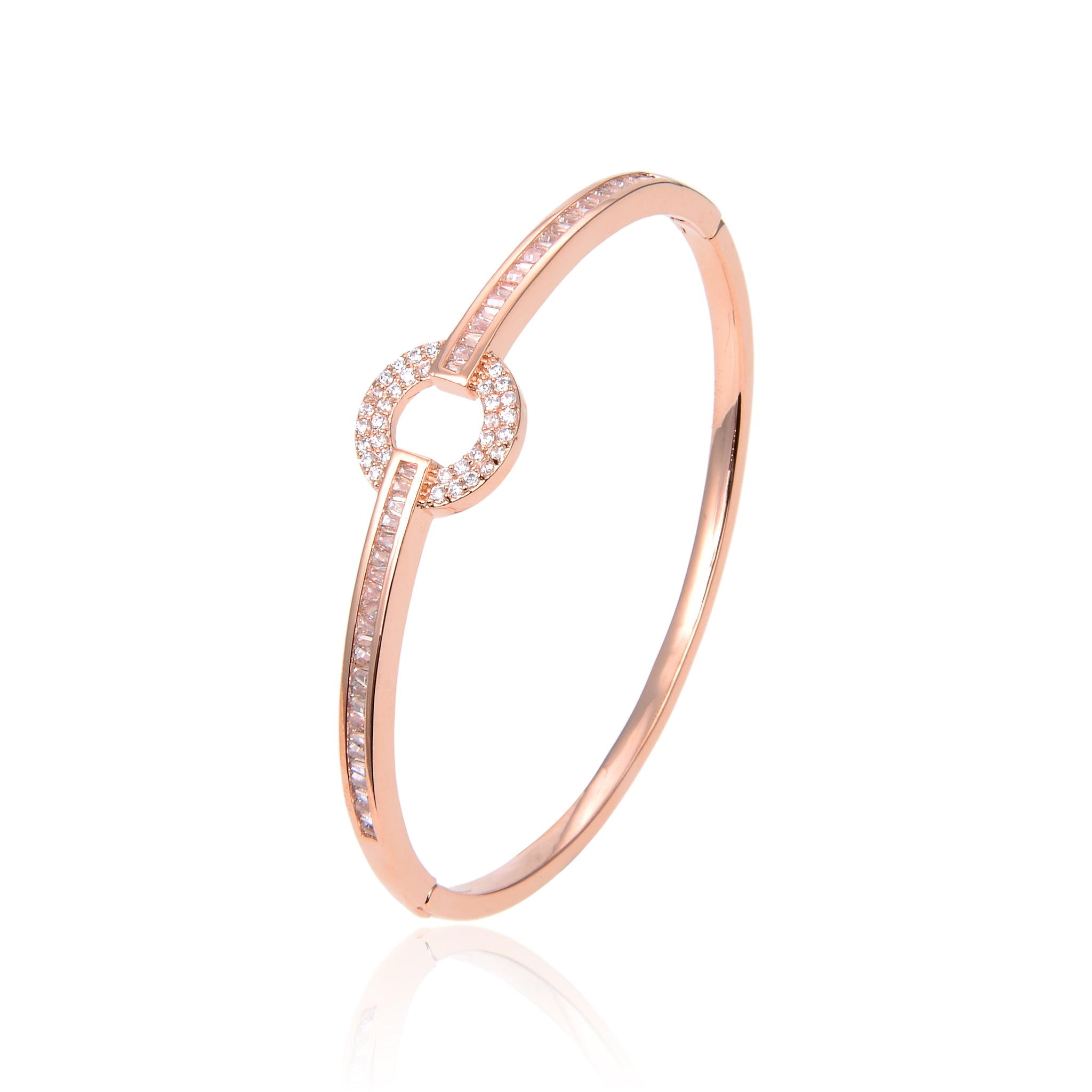 Rose Gold Plated CZ Cubic Zirconia Bracelet, Rose Gold Zircon Bracelet