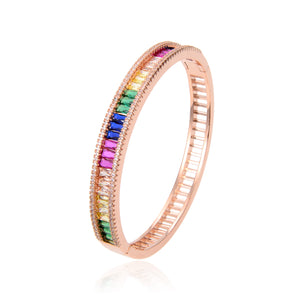 Rose Gold Plated CZ Cubic Zirconia Bracelet, Rose Gold Multi-Color Zircon Bracelet