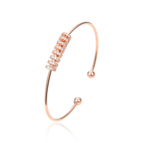Rose Gold Plated CZ Cubic Zirconia Bangle Bracelet, Rose Gold Zircon Bangle Bracelet
