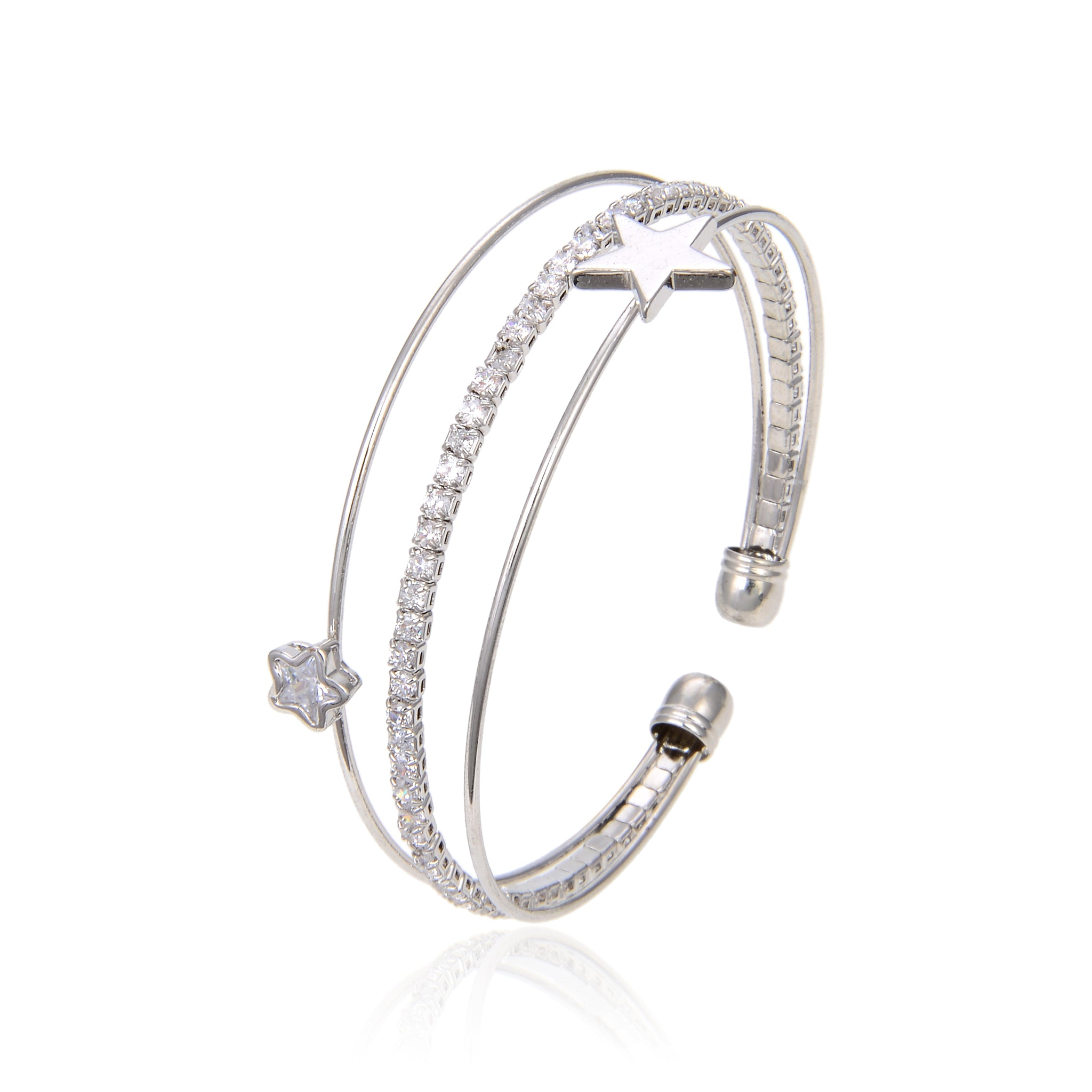 Silver Plated CZ Cubic Zirconia Bangle Bracelet, Star Shape Zircon Bangle Bracelet