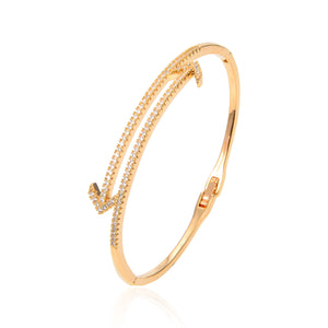 Gold Plated CZ Cubic Zirconia Bangle Bracelet, Round Arrow Shape Zircon Bangle Bracelet