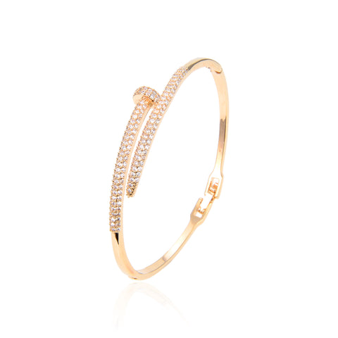 Rose Gold Plated CZ Cubic Zirconia Bangle Bracelet, Zircon Rose Gold Bangle Bracelet