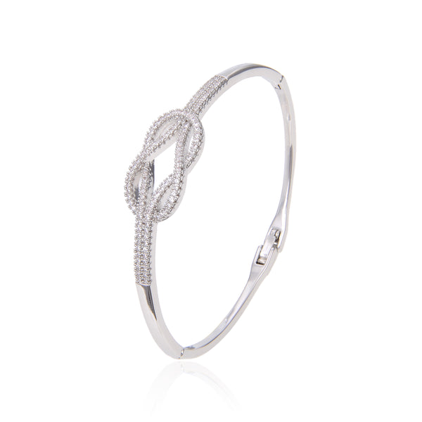 Silver Plated Cubic Zirconia Bracelet Bangle, CZ Adjustable Bangle Bracelet