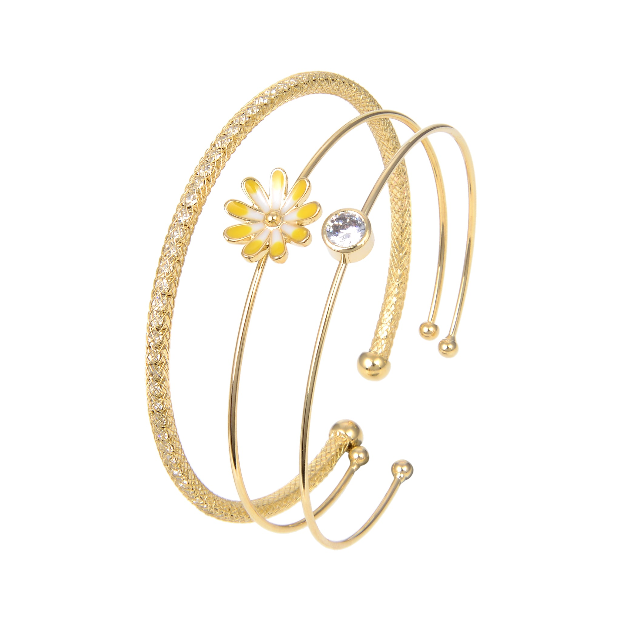 Gold Plated Cubic Zirconia Bangle Bracelet, CZ Flower Shape Bangle Bracelet