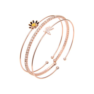 Rose Gold Plated Cubic Zirconia Bangle Bracelet, Rose Gold CZ Flower Shape Bangle Bracelet