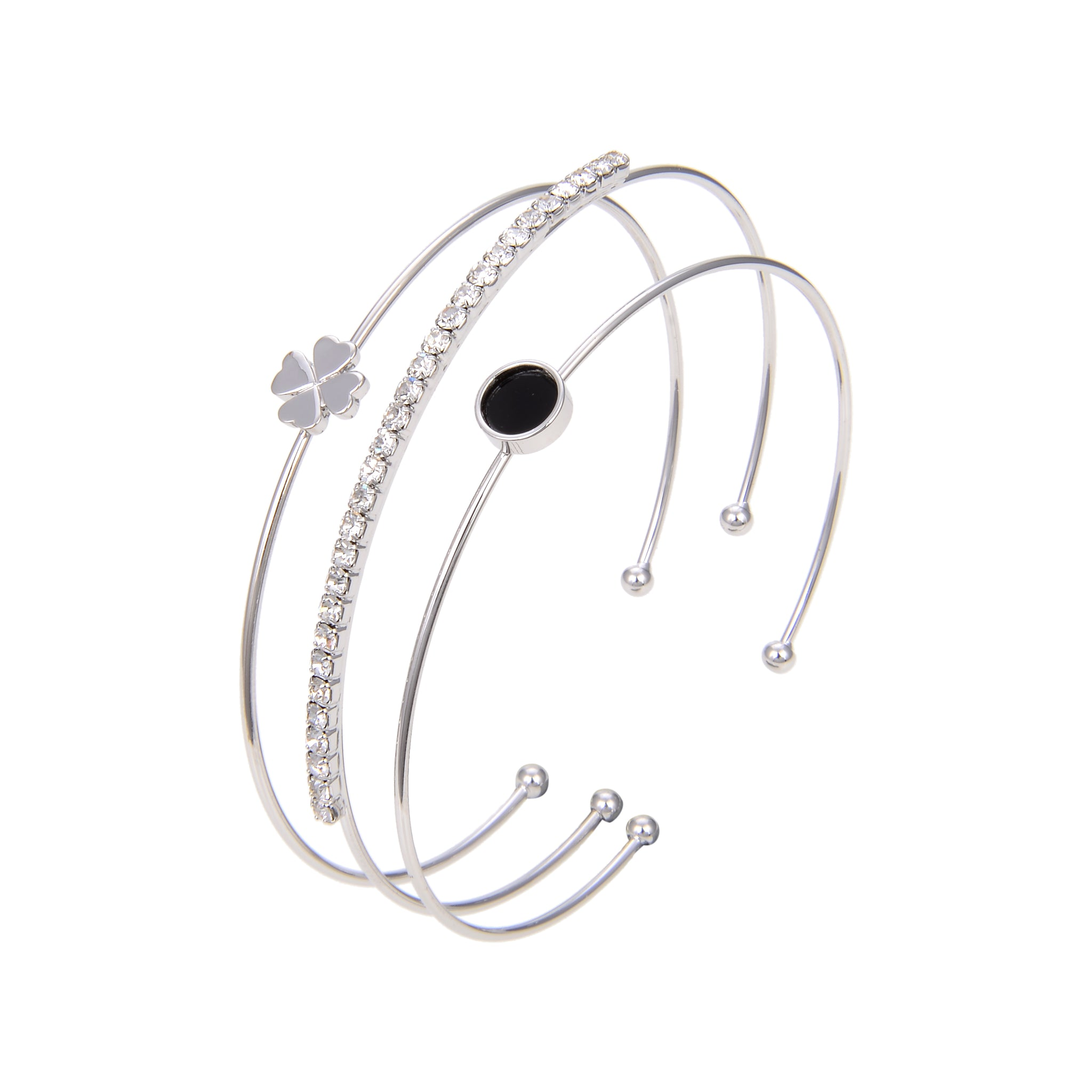 Silver Plated Cubic Zirconia Bangle Bracelet, CZ With Black Stone Bangle Bracelet