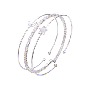 Silver Plated CZ Cubic Zirconia Bangle Bracelet, CZ Star Moon Print Bangle Bracelet