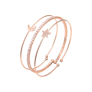 Gold Plated Cubic Zirconia Bangle Bracelet, CZ Rose Gold Star Moon Print Bangle Bracelet