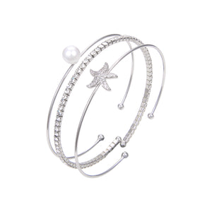 Silver Plated CZ Cubic Zirconia Bangle Bracelet, CZ With Pearl Bangle Bracelet