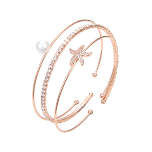 Gold Plated Cubic Zirconia Bangle Bracelet, CZ With Pearl Bangle Bracelet