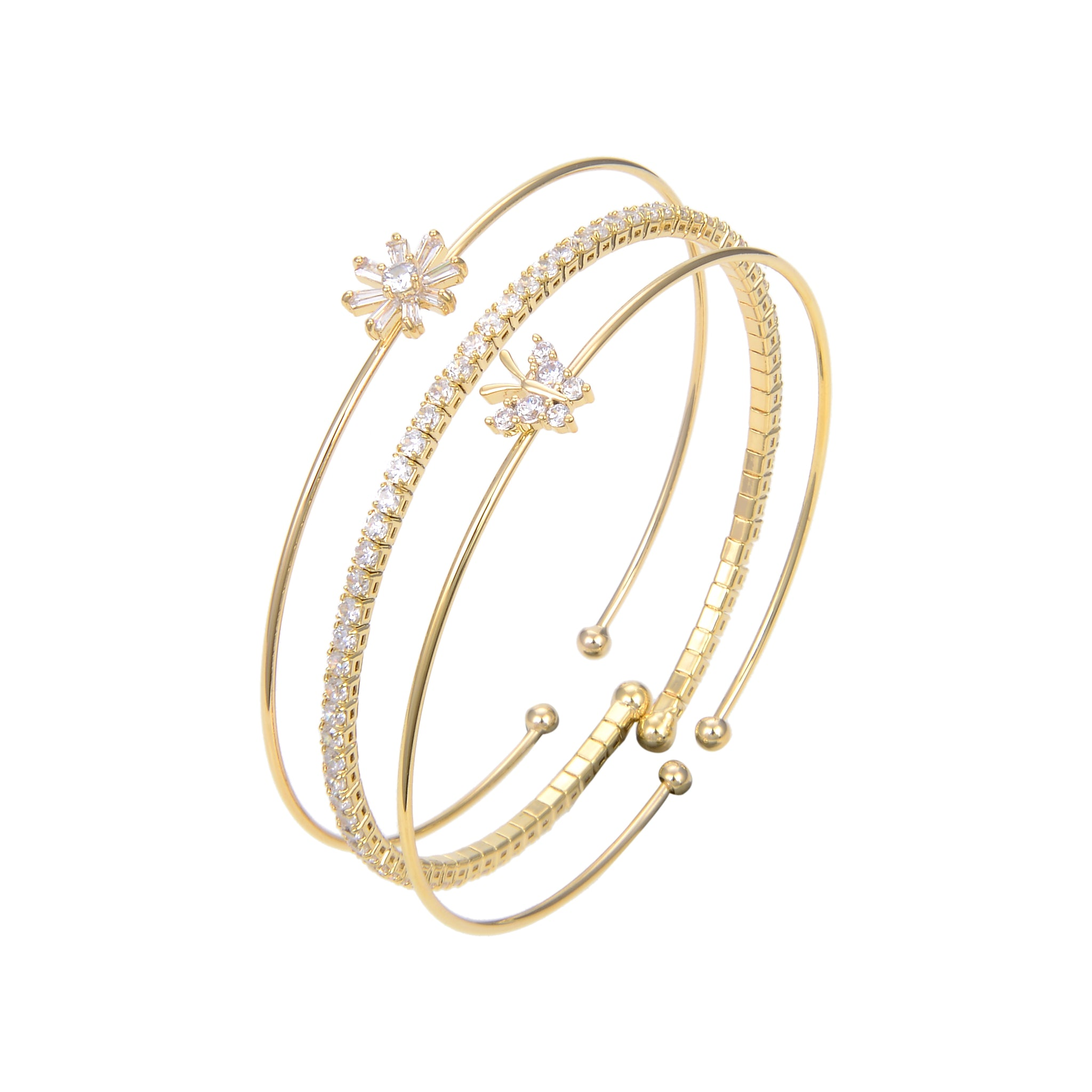 Gold Plated Cubic Zirconia Bangle Bracelet, CZ Adjustable Bangle Bracelet