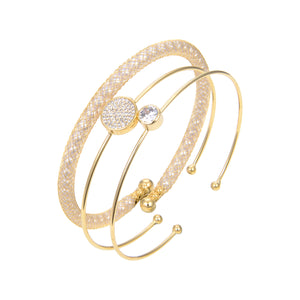 Gold Plated CZ Cubic Zirconia Bangle Bracelet, CZ Gold Plated Bangle Bracelet