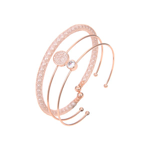 Rose Gold Plated CZ Cubic Zirconia Bangle Bracelet, Rose Gold Bangle Bracelet