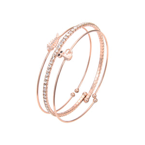 Gold Plated Cubic Zirconia Bangle Bracelet, Rose Gold CZ Round Fish and Cat Print Bangle Bracelet