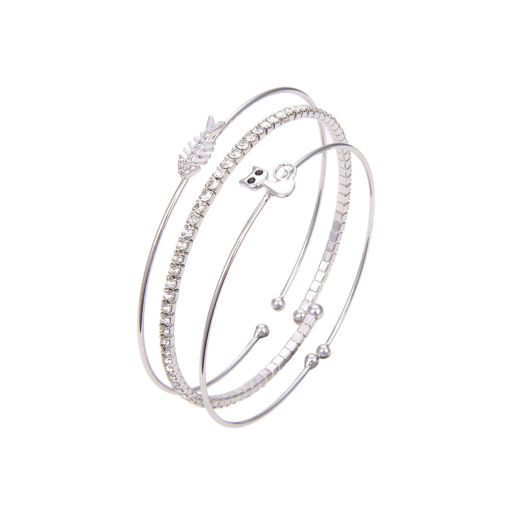 Silver Plated CZ Cubic Zirconia Bangle Bracelet, Round Shape Fish and Cat Print Bangle Bracelet