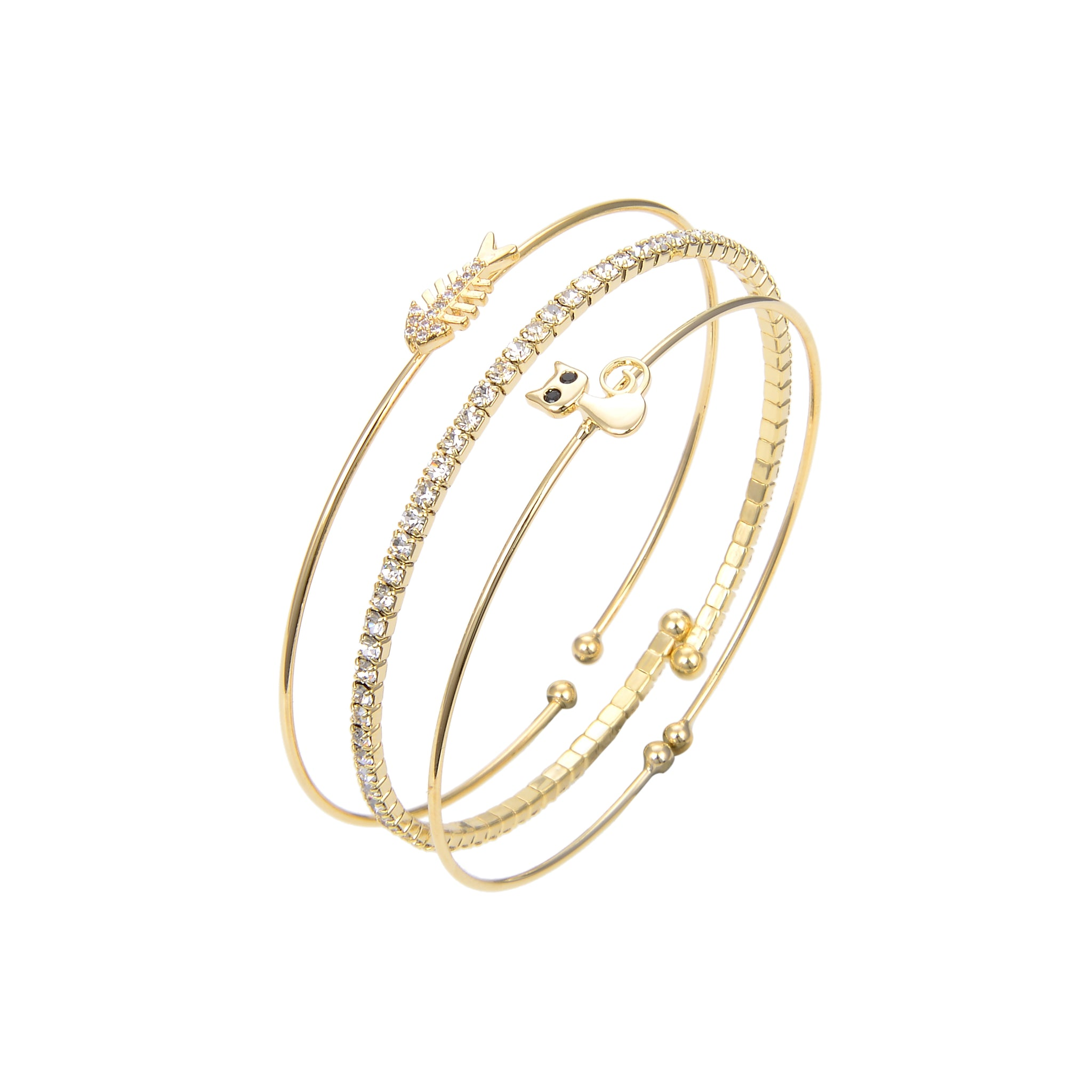 Gold Plated CZ Cubic Zirconia Bangle Bracelet, CZ Round Shape Fish and Cat Printed Bangle Bracelet