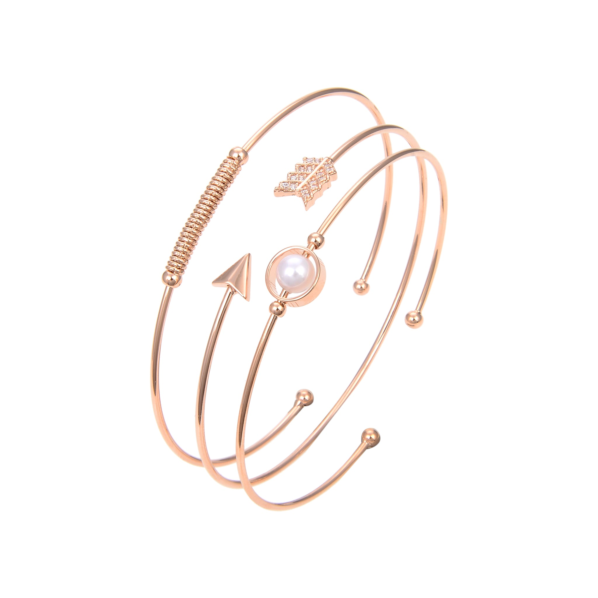 Gold Plated CZ Cubic Zirconia Bangle Bracelet, Round Arrow Shape CZ With Pearl Bangle Bracelet
