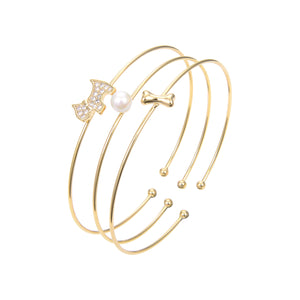 Rose Gold Plated CZ Cubic Zirconia With Pearl Bangle Bracelet, CZ Adjustable Bangle Bracelet