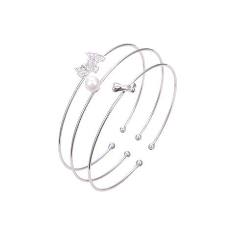 Silver Plated Cubic Zirconia, Bangle Bracelet, CZ and Pearl Bangle Bracelet