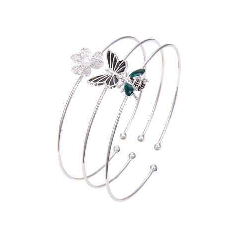 Silver Plated CZ Cubic Zirconia Bangle Bracelet, Black Onyx Butterfly Print CZ Bangle Bracelet