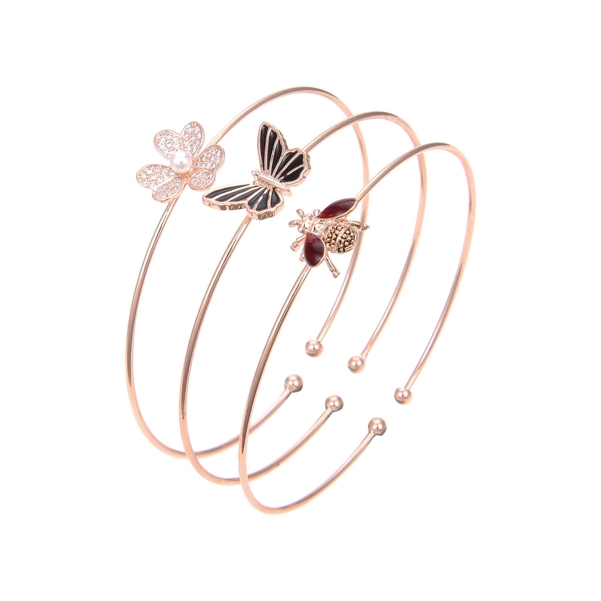 Gold Plated Cubic Zirconia Black Onyx Bangle Bracelet, Butterfly Print CZ Bangle Brecelet