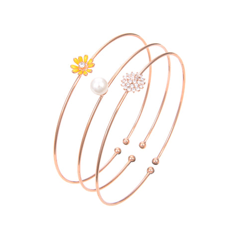 Rose Gold Plated CZ Cubic Zirconia Bangle Bracelet, Pearl Flower Print CZ Bangle Bracelet