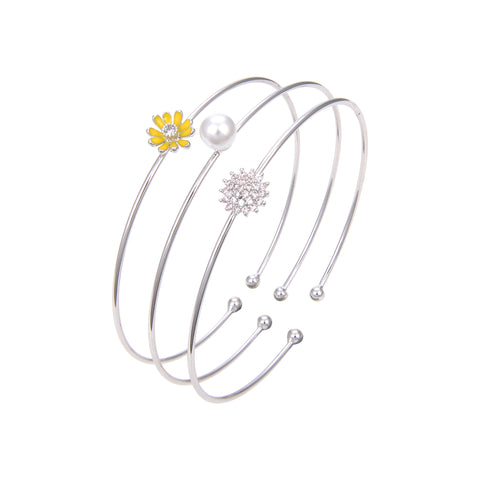 Silver Plated Cubic Zirconia Pearl Bangle Bracelet, Flower Printed CZ Bangle Bracelet