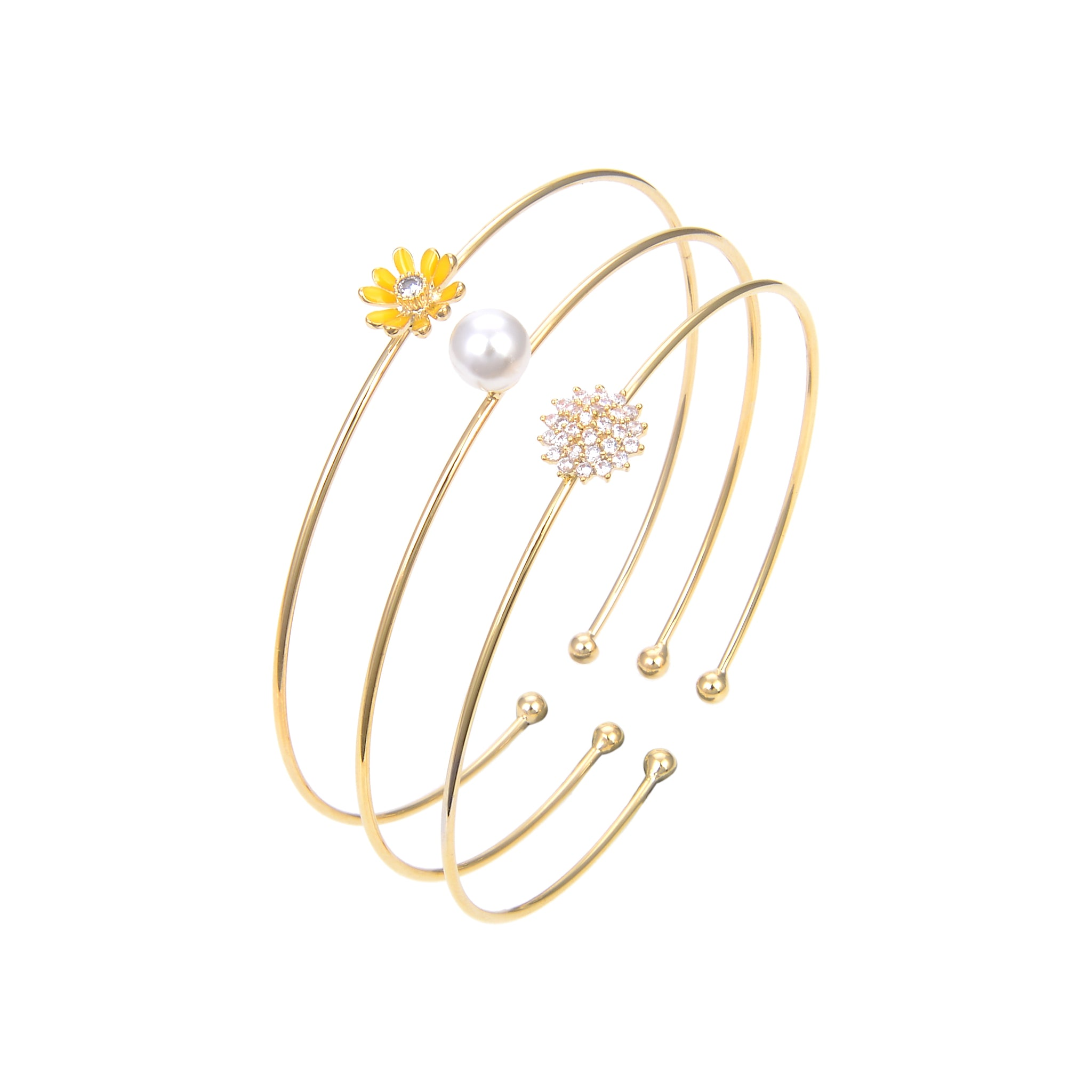 Gold Plated CZ Cubic Zirconia Pearl Bangle Bracelet, Flower Print CZ Bangle Bracele