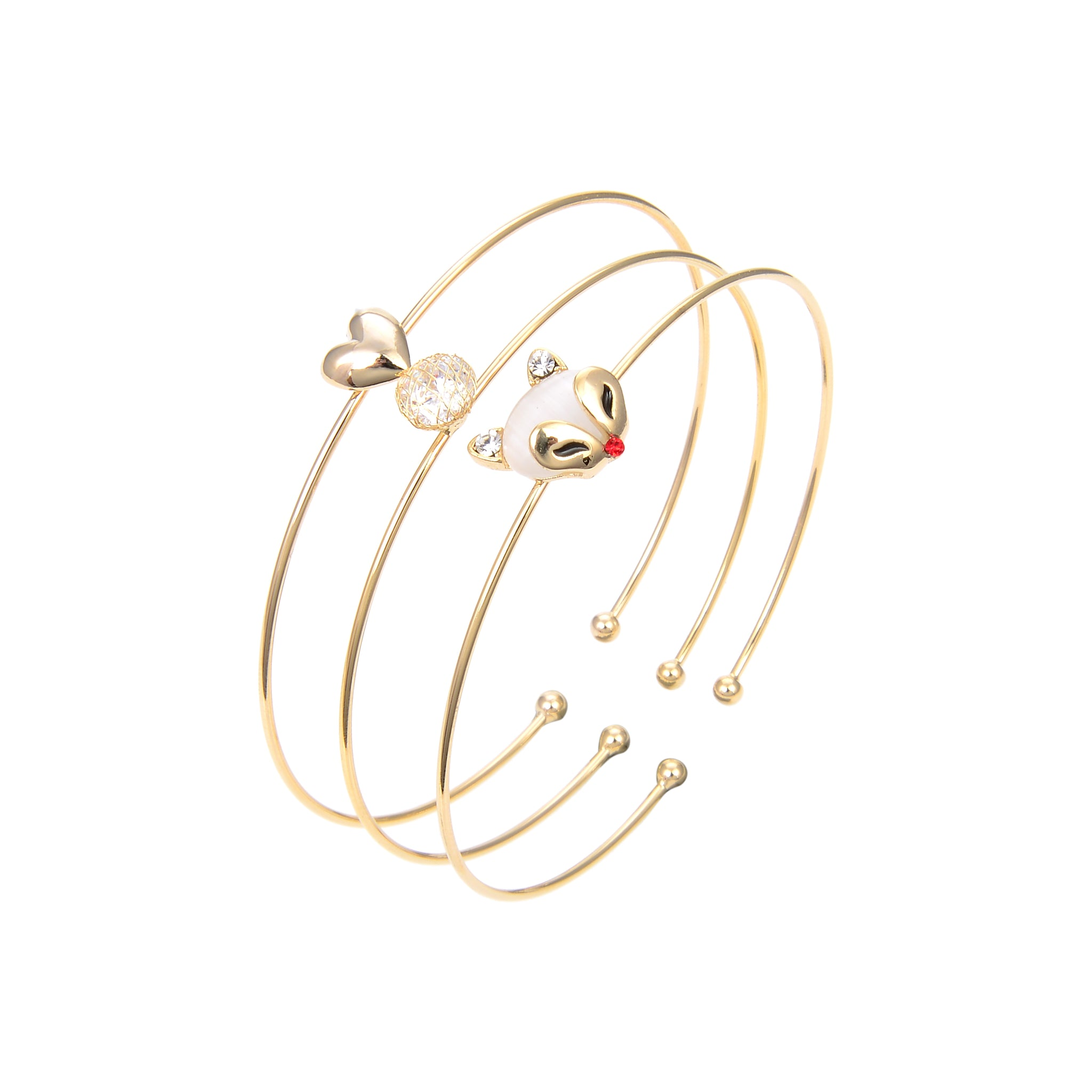 Gold Plated CZ Cubic Zirconia Bangle Bracelet, CZ Adjustable Bangle Bracelet