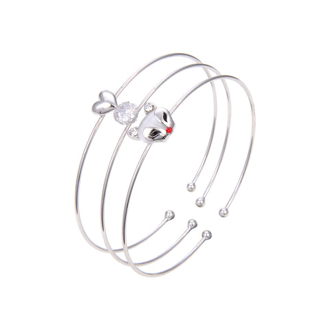Silver Plated Cubic Zirconia Bangle Bracelet, CZ Adjustable Bangle Bracelet