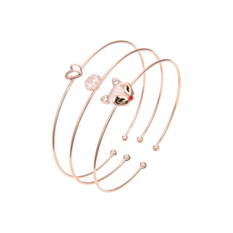 Rose Gold Plated Cubic Zirconia Bangle Bracelet, Rose Gold Plated CZ Bangle Bracelet