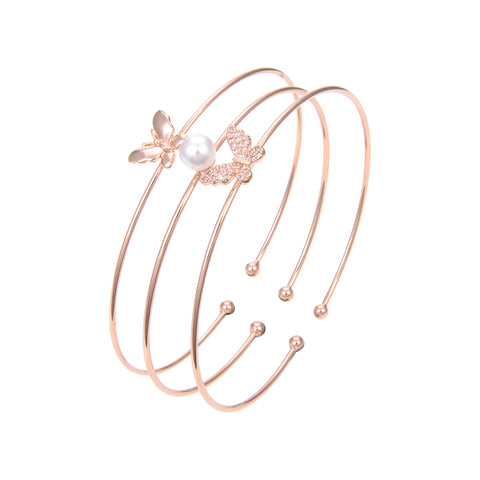 Rose Gold Plated Cubic Zirconia Bangle Bracelet, Pearl CZ Butterfly Bangle Bracelet