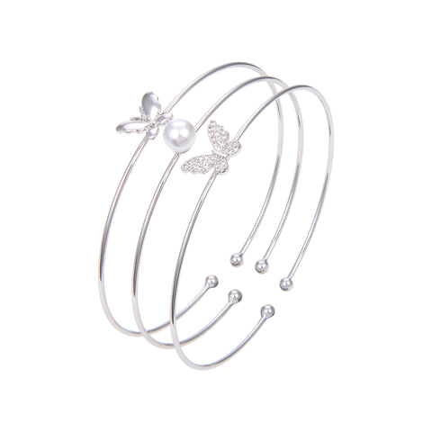 Silver Plated CZ Cubic Zirconia Bangle Bracelet, Butterfly Shape Pearl Adjustable Bangle Bracelet
