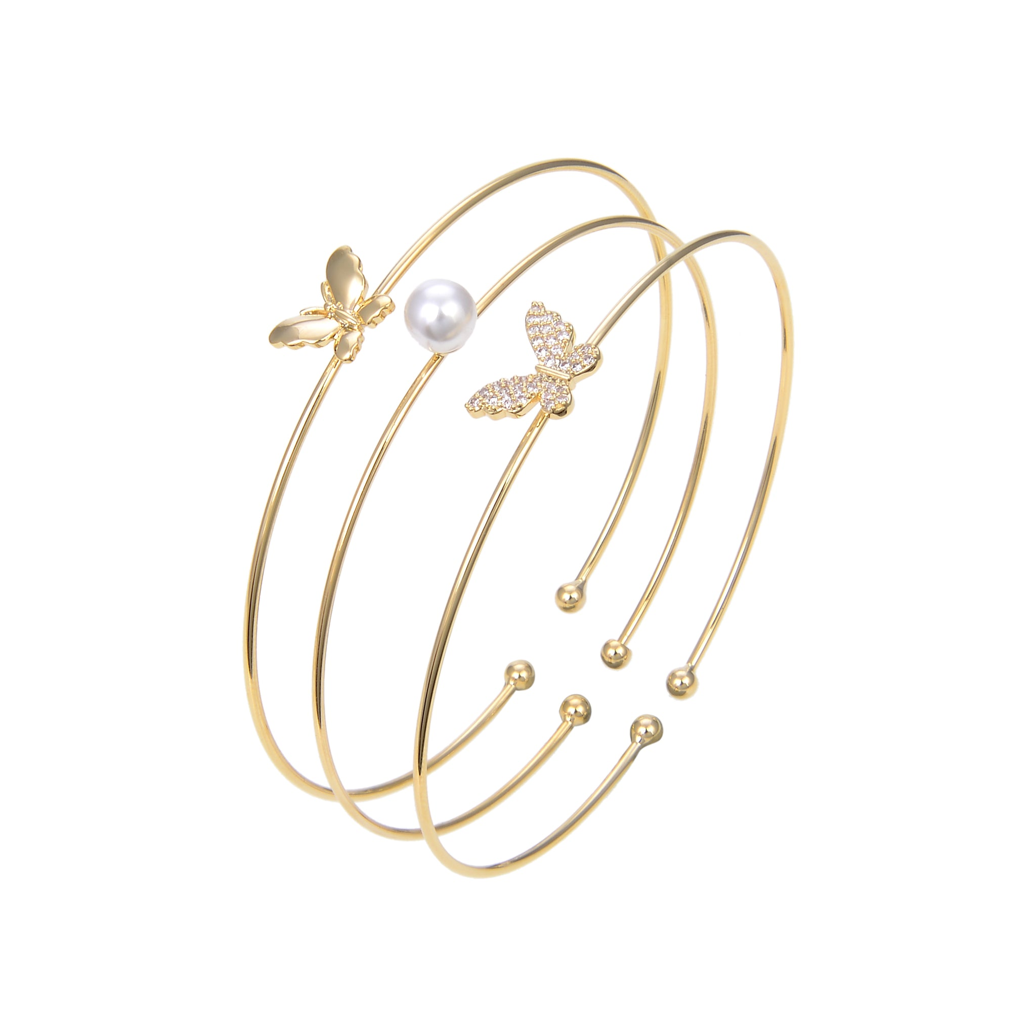 Gold Plated Cubic Zirconia Bangle Bracelet, Pearl Butterfly Shape CZ Bangle Bracelet