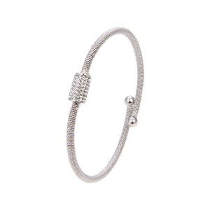 Silver Plated CZ Cubic Zirconia Bangle Bracelet, Adjustable Silver Plated Bangle Bracelet