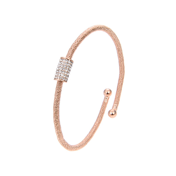 Gold Plated Cubic Zirconia Bangle Bracelet, Gold Plated CZ Rose Gold Adjustable Bangle Bracelet