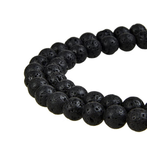 Natural Black Lava Gemstone Beads Round
