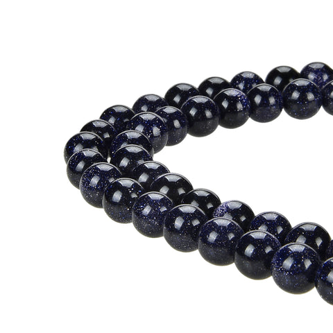 Blue Gold Sandstone Gold Stone Beads Round