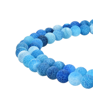 Blue Frosted Matte Agate Gemstone Beads Round