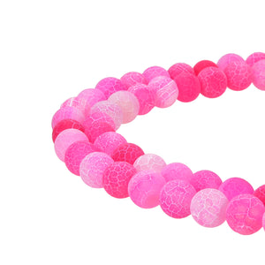Hot Pink Frosted Matte Agate Gemstone Beads Round