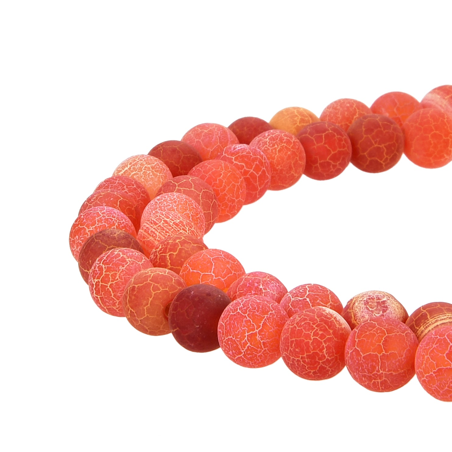 Orange Frosted Matte Agate Gemstone Beads Round