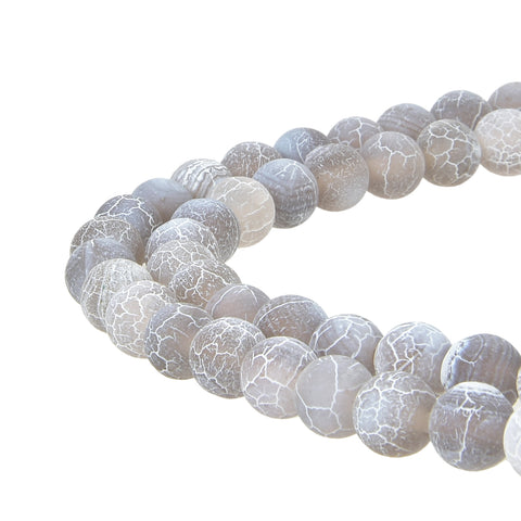 Grey Frosted Matte Agate Gemstone Beads Round