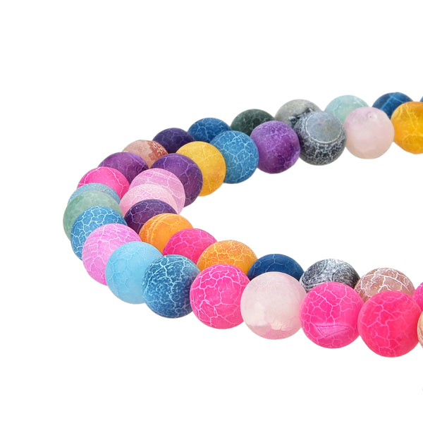 Multi Color Frosted Matte Agate Gemstone Beads Round