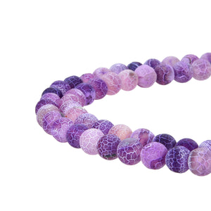 Purple Frosted Matte Agate Gemstone Beads Round